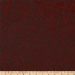 Faux Leather Embossed Floral Burgundy