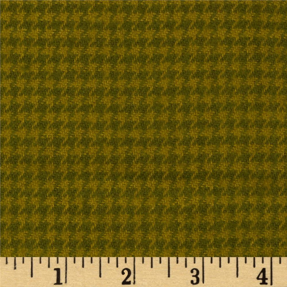 Cozy Yarn Dye Flannel Mini Houndstooth Green