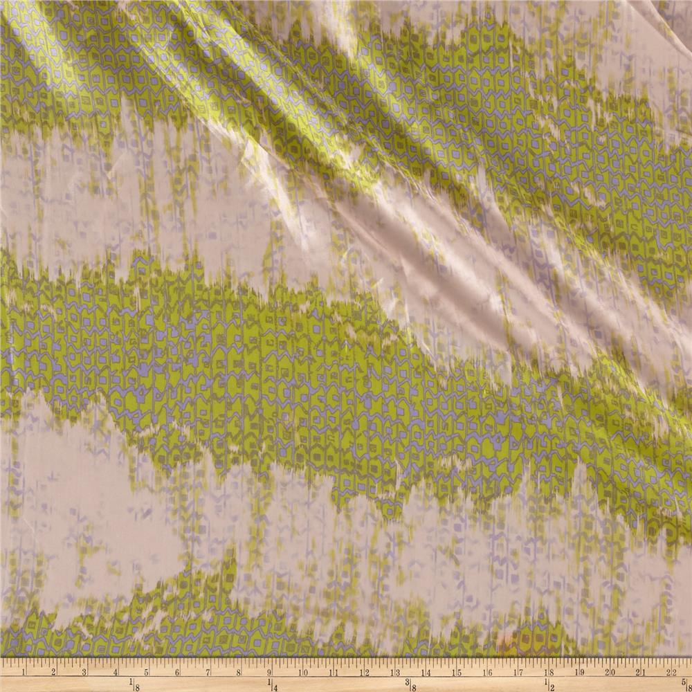 Silk Shirting Ombre Abstract Herringbone Green/Periwinkle/Pink