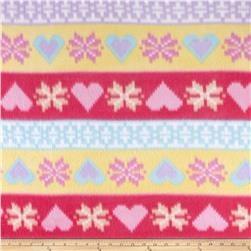 Fleece Nordic Hearts Pink/Yellow/Purple