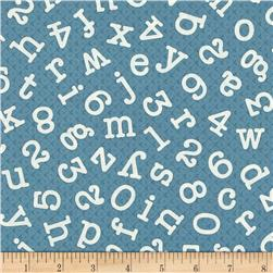Homeschool Tossed Letters & Numbers Slate Blue