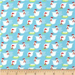 Farm Friends Chickens Blue Fabric