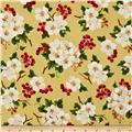 Christmas Tidings Metallic Floral Clusters Gold