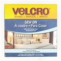 "Velcro Sew On Tape Roll  3/4"" x 15YDs Beige"
