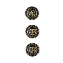 "Metal Button 5/8"" Navy Club Antique Brass"