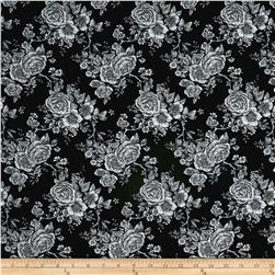 "Rose Toile 108"" Wide Back Black"