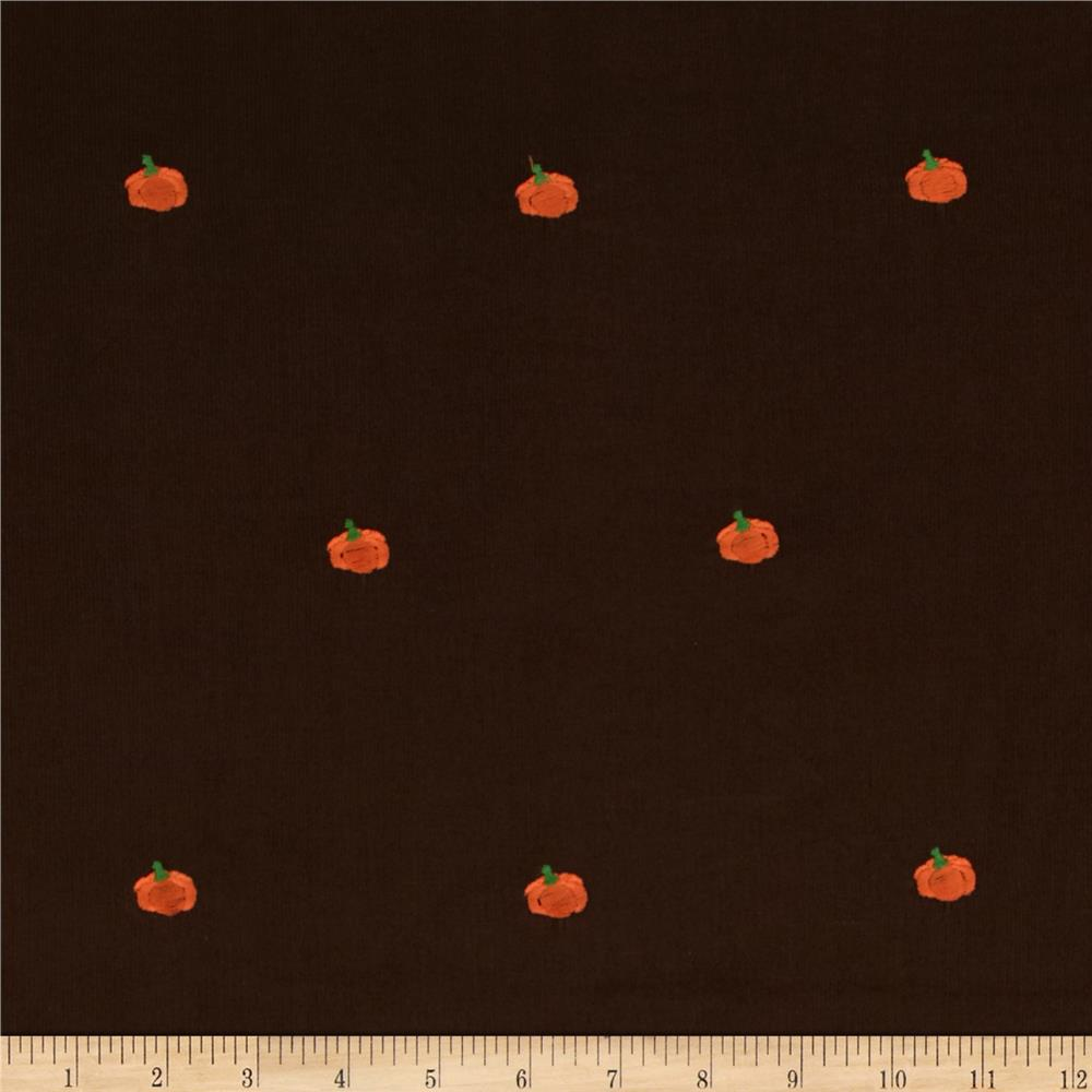 Embroidered 21 wale corduroy pumpkin hazelnut brown for Kids corduroy fabric