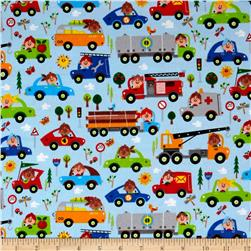 Comfy Flannel Prints People In Vehicles Blue