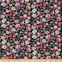 Hampton Court Cotton Shirting Floral Print Black/Pink