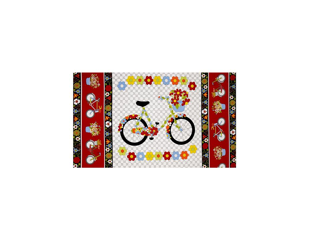 Bicycles & Blooms Sained Glass Floral 24 In. Panel