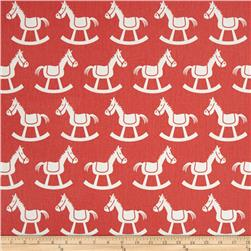 Premier Prints Rocking Horse Twill Coral/White