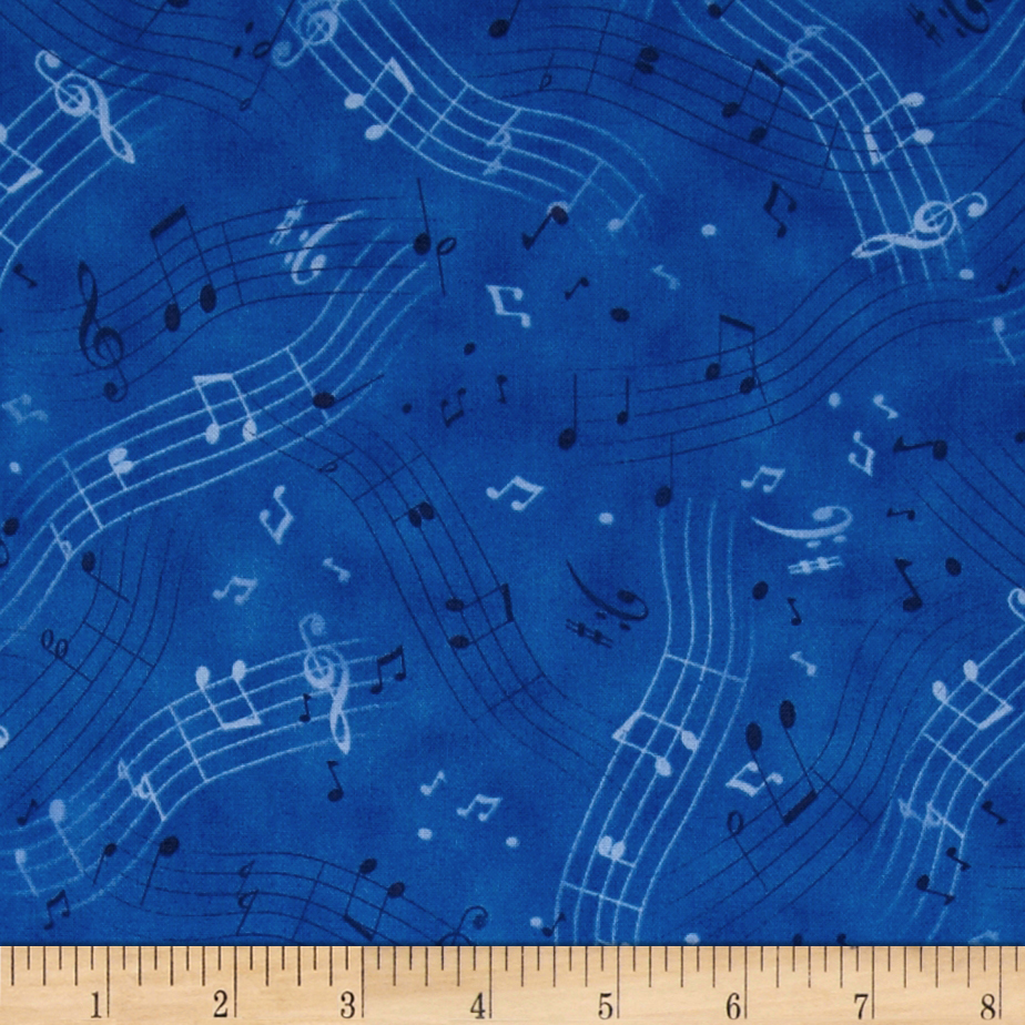 A Nation's Song Musical Notes Blue Fabric