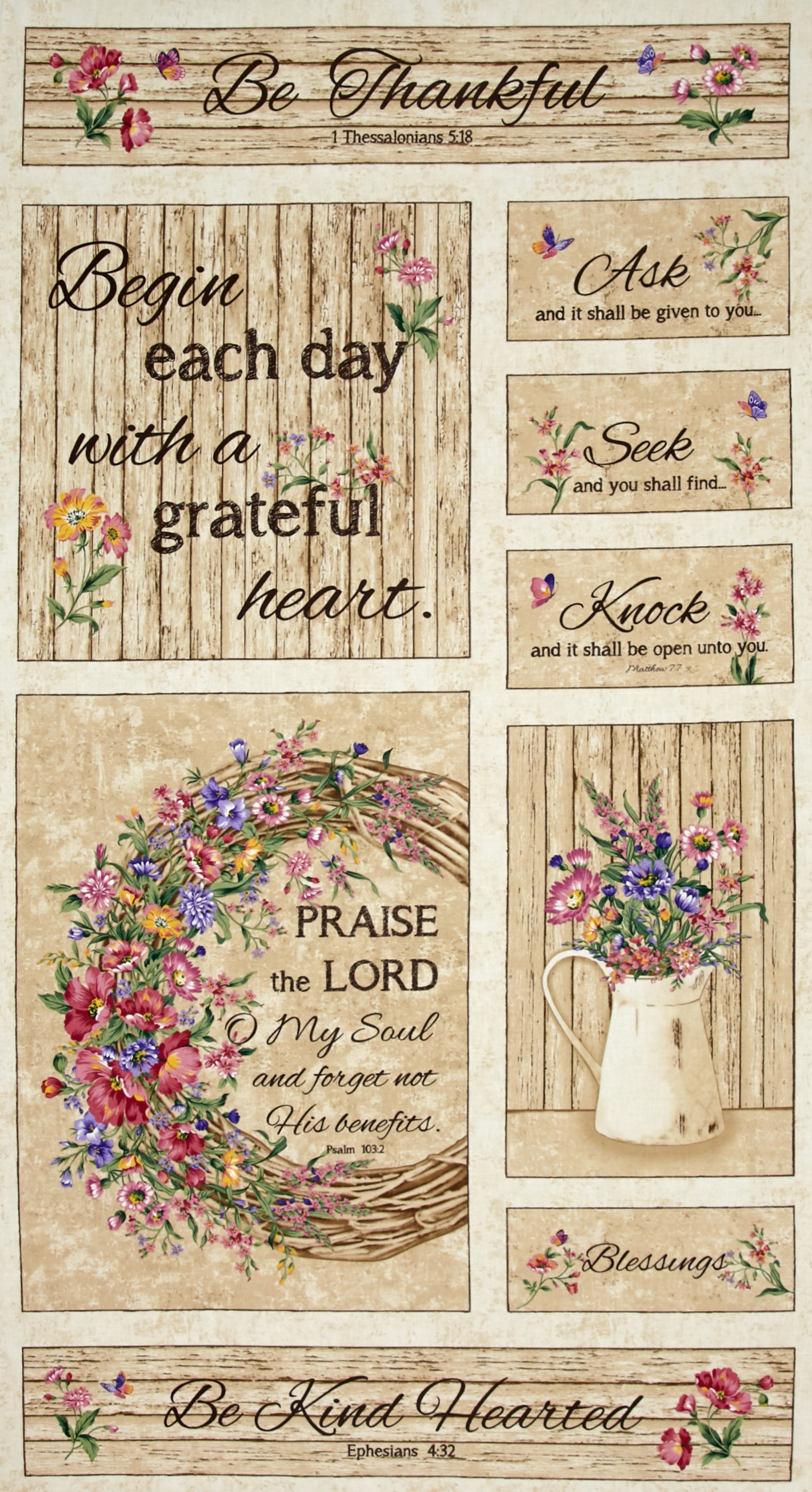 Timeless Treasures Grateful Heart 23'' Panel Beige Fabric by Timeless Treasures in USA