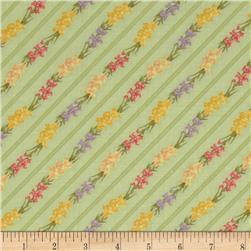 Bouquet Gallery Floral Diagonal Stripe Green