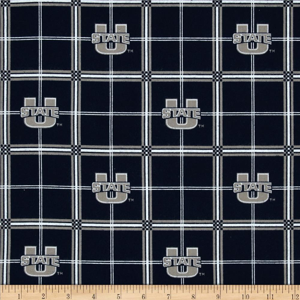 Collegiate Cotton Flannel Utah State University Plaid Black