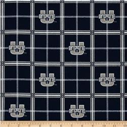 Collegiate Cotton Broadcloth Utah State University Allover Plaid