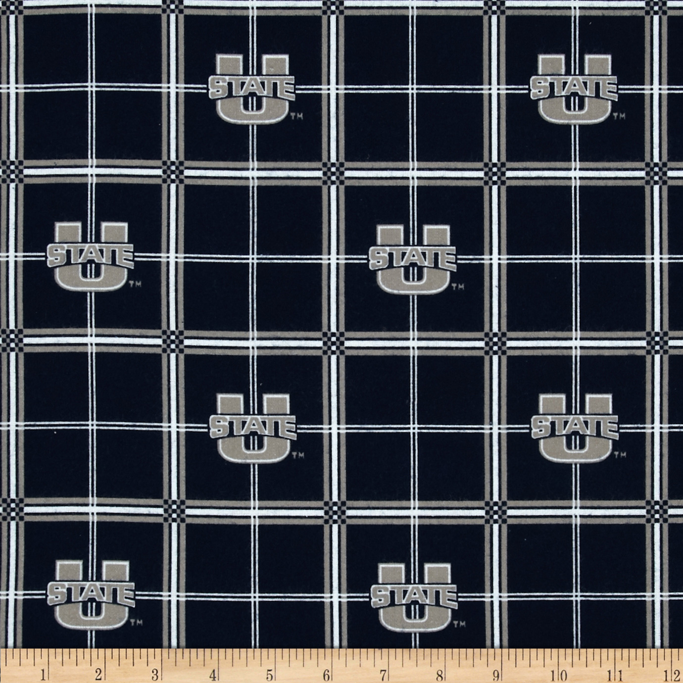 Collegiate Cotton Broadcloth Utah State University Plaid Black