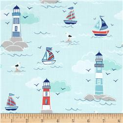 Lewis and Irene Coastal Lighthouses and Sailboats Aqua