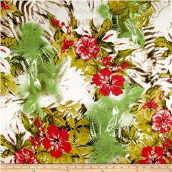 Italian Designer Silk Chiffon Tropical Floral Yellow/Green/Red
