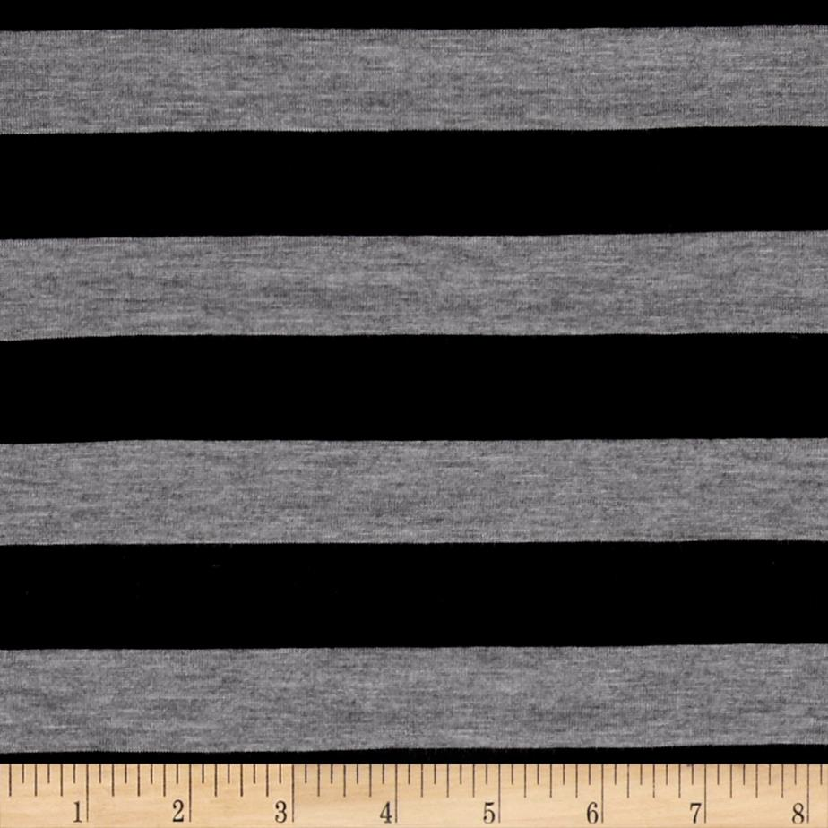 Jersey Knit Black Stripe on Gray