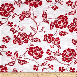 Cotton Slub Jersey Knit Floral Red