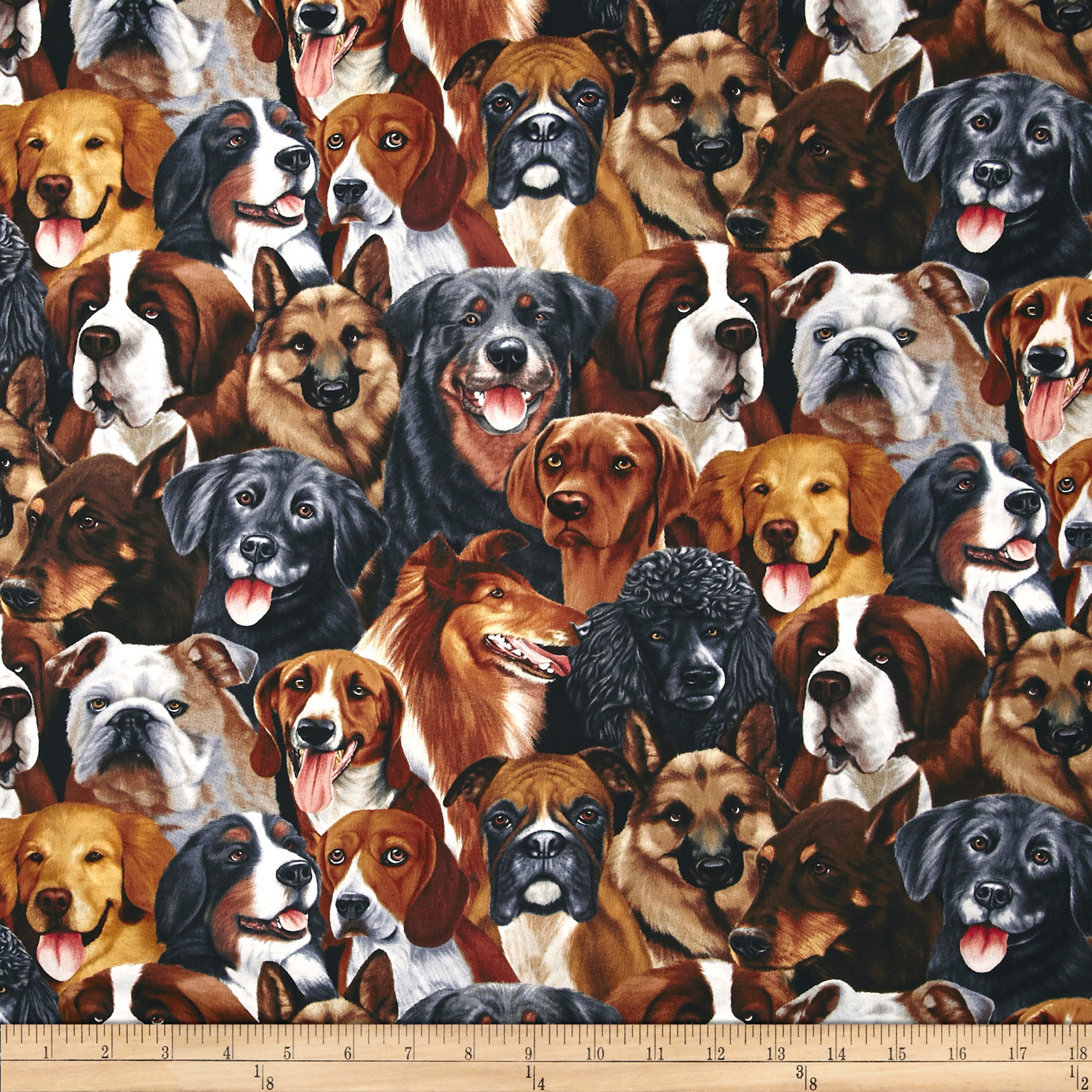 Timeless Treasures Dogs Natural Fabric