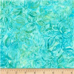 "Timeless Treasures Tonga 106"" Extra Wide Batik Delicate Leaf Marine"