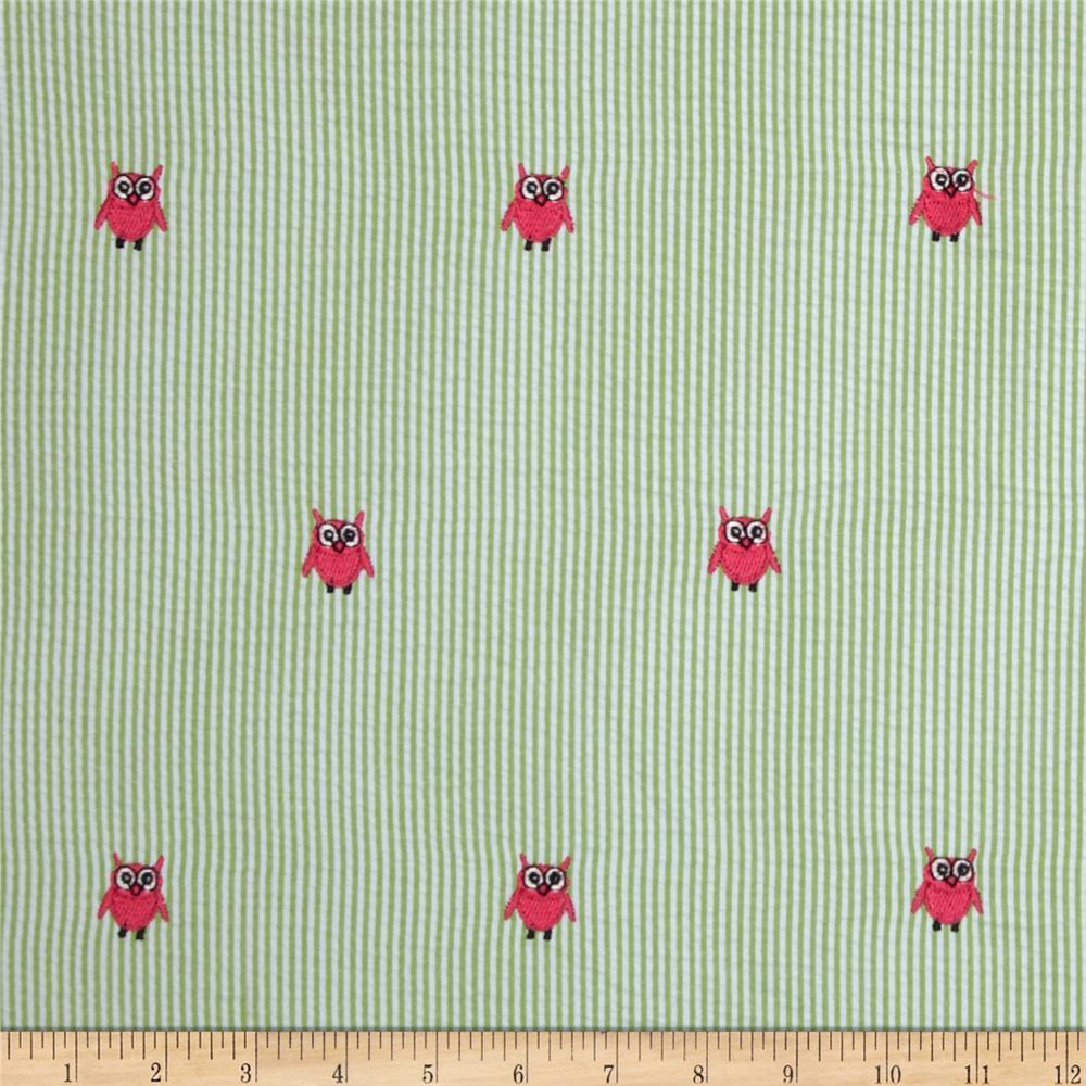 Kaufman Embroidered Seersucker Owls Lime