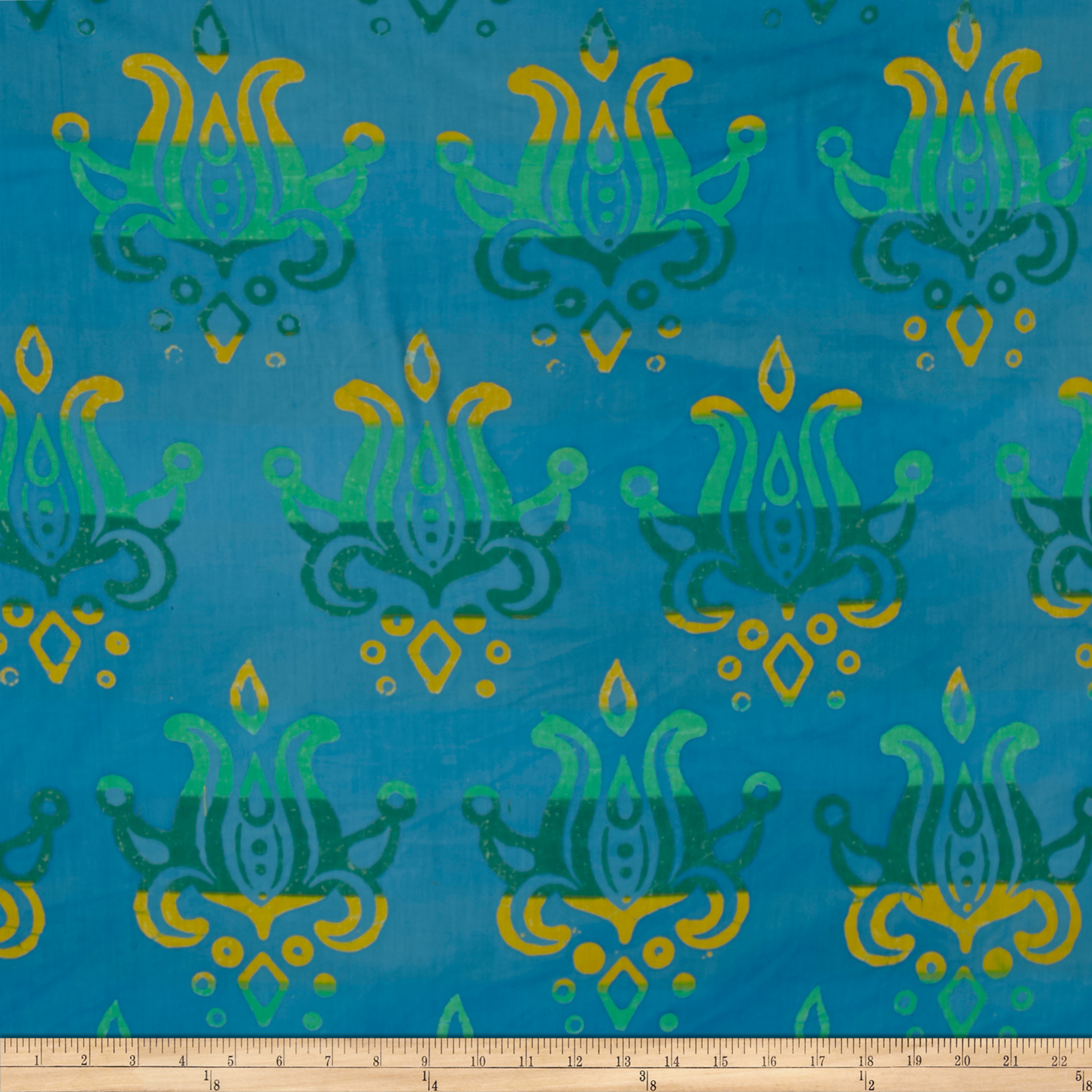 Alison Glass Handcrafted Patchwork Batik Lotus Sapphire Blue Fabric by Andover & Makower in USA