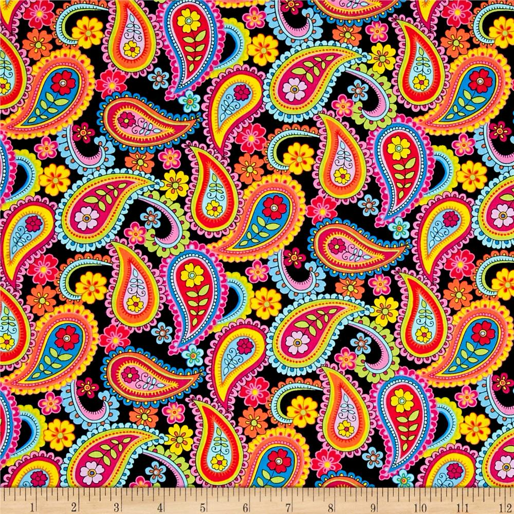 Timeless Treasures Delilah Paisley Black