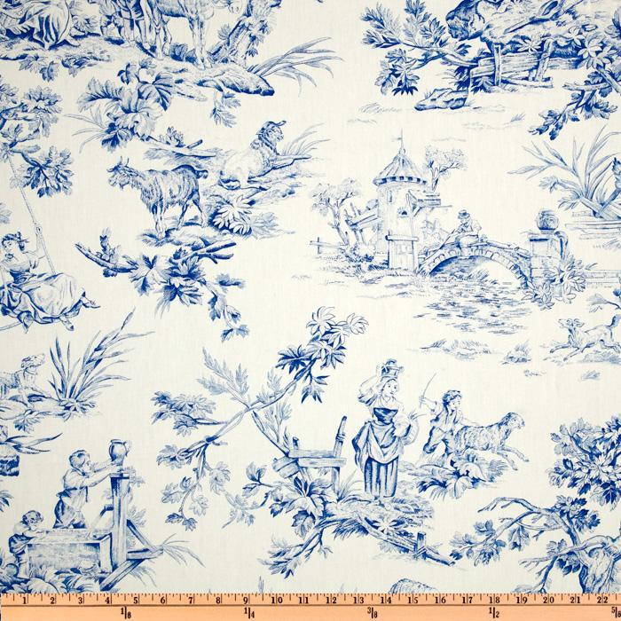 covington musee toile blue discount designer fabric. Black Bedroom Furniture Sets. Home Design Ideas