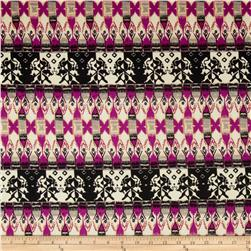 Stretch Ponte de Roma Knit Aztec Print Black/White/Fuchsia