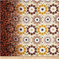Cotton Lawn Leopard Geo Border Brown/Tan