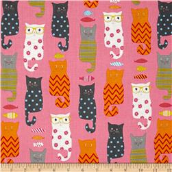 Riley Blake Designer Novelty Smarty Cats Pink
