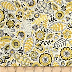 Modern Folkloric Floral Allover Yellow