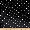 Charmeuse Satin Small Polka Dot Print Black/White