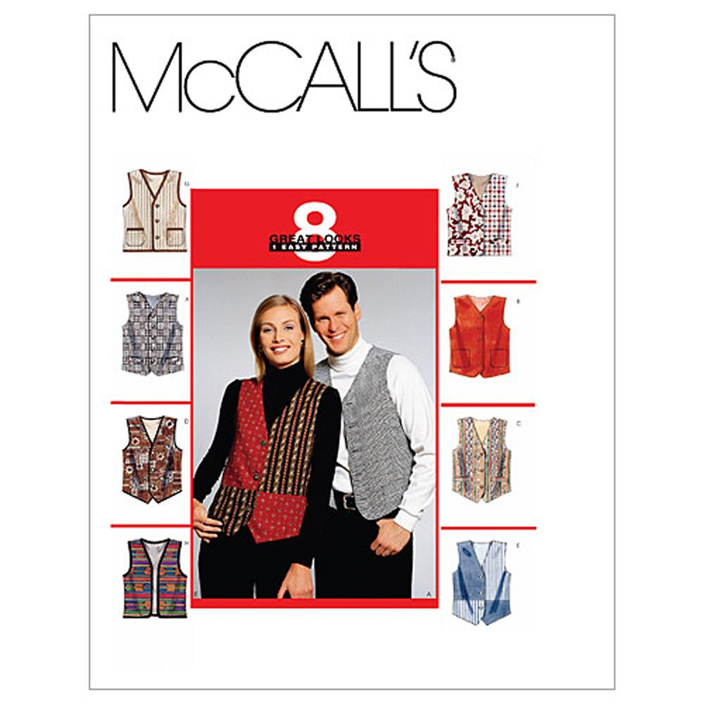McCall's Misses'/Men's Lined Vests Pattern M6228 Size LRG