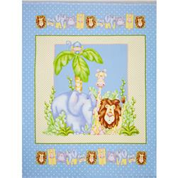 The Mighty Jungle Flannel Animals Panel Blue
