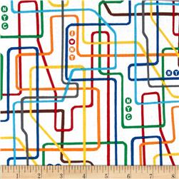 Timeless Treasures Subway Map White