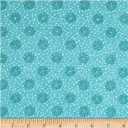 Playful Penguins Flannel Snowflake Ditzy Teal Fabric
