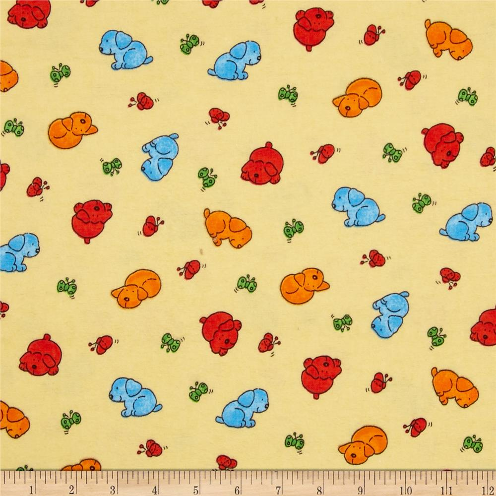 Flannel Novelties Tossed Puppies and Butterflies Cream
