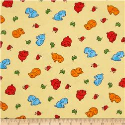 Flannel Novelties Tossed Puppies and Butterflies Cream Fabric