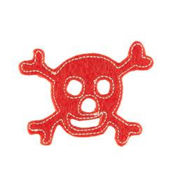 Skull with Felt Applique Orange