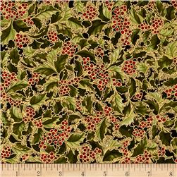 Robert Kaufman Holiday Flourish Metallic Holly Black