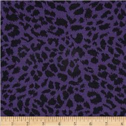 Pique Double Knit Cheetah Black/Purple