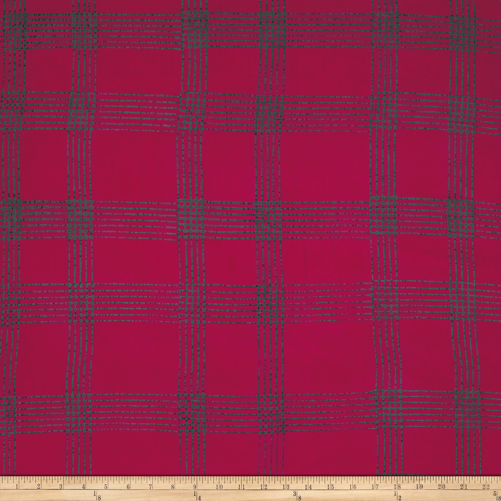 Image of Alison Glass Handcrafted Batiks Chroma Plaid Cherry Fabric