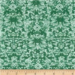 Rebecca's Rose Damask Aqua/Green
