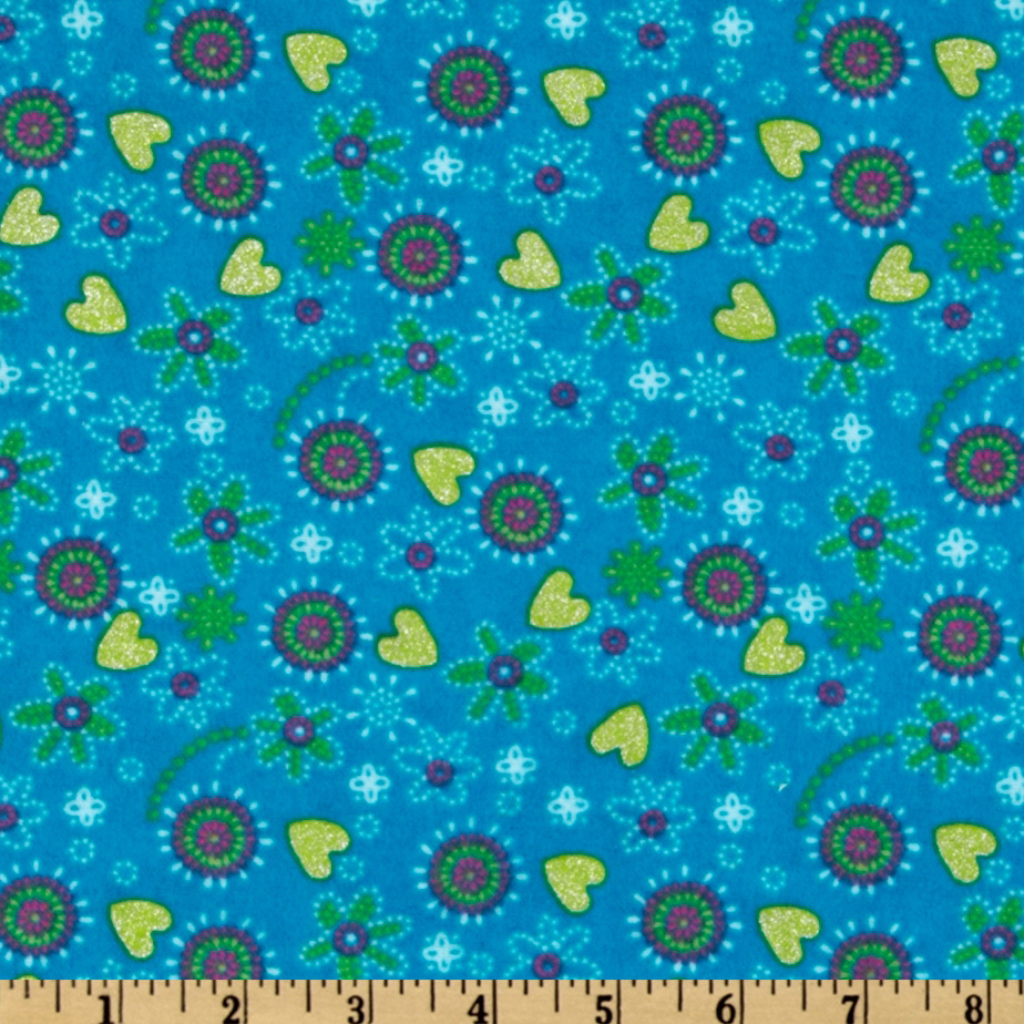 Camelot Flannel Glitter Tossed Flowers Blue Fabric