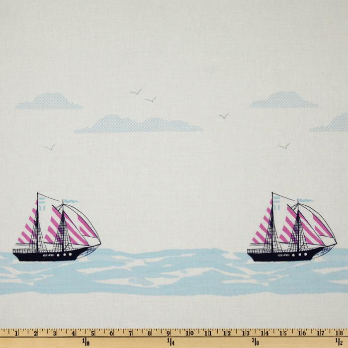 Michael Miller Out To Sea Sail Away Double Border Stripe Bloom Pink