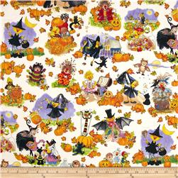Suzy's Zoo Pumpkin Patch Character Scenic Halloween Fabric